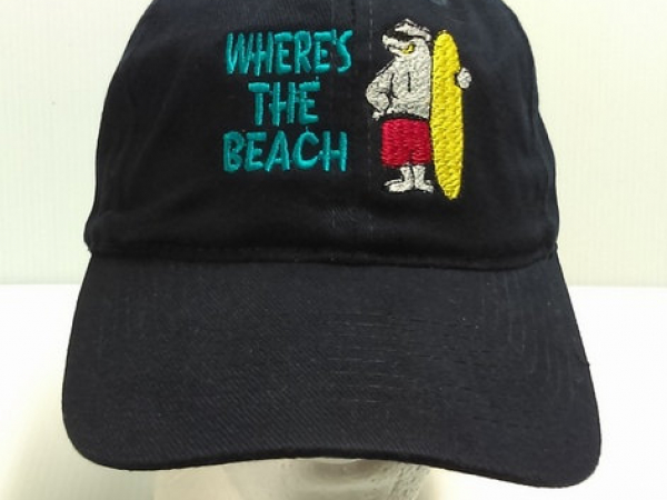Embroidered Navy Blue Cap WHERE'S THE BEACH w Polar Bear front