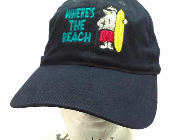 Embroidered Navy Blue Cap WHERE'S THE BEACH w Polar Bear