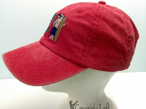 Embroidered Red Denim Cap WHERE'S THE BEACH w Polar Bear side view