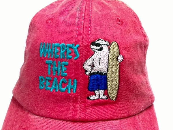 Embroidered Red Denim Cap WHERE'S THE BEACH w Polar Bear