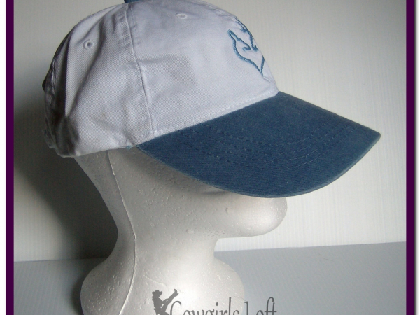 Embroidered Cap Deer Doe Buck White w Light Blue Bill side view
