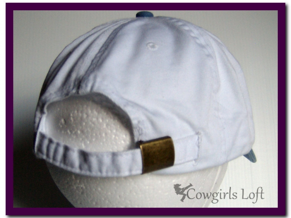 Embroidered Cap Deer Doe Buck White w Light Blue Bill  back view