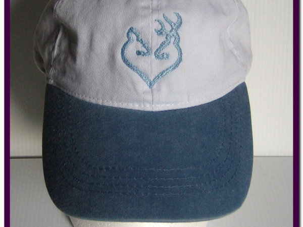 Embroidered Cap Deer Doe Buck White w Light Blue Bill
