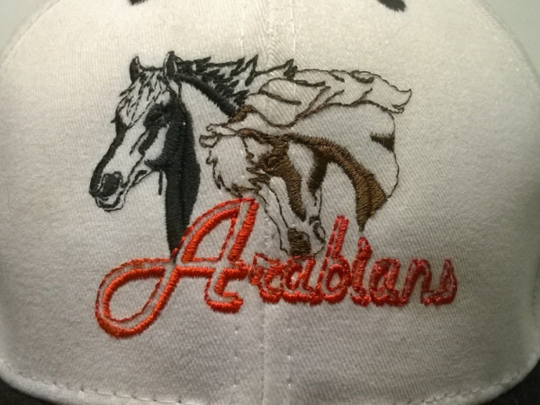 Embroidered Arabian Horse Baseball Cap front close