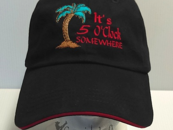 Black embroidered It's 5 O'clock baseball cap