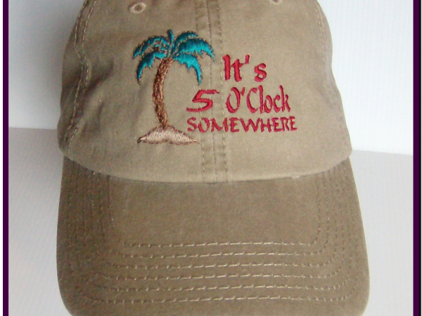 Khaki embroidered It's 5 O'clock baseball cap