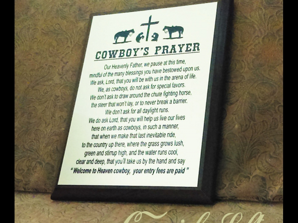 Cowboys Prayer Plaque from Cowgirls Loft