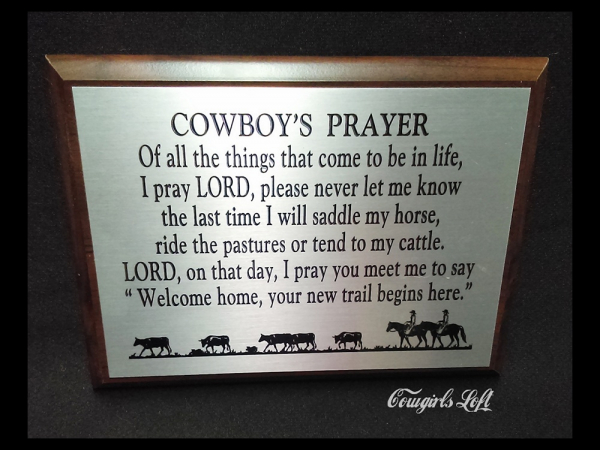 Cowboy Prayer plaque by K. Miller Cowgirls Loft