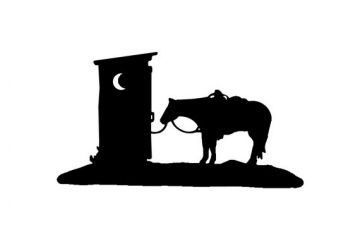 Outhouse with Trail Riding Western Horse Decal Vinyl