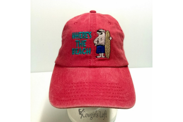Embroidered Red Denim Cap WHERE'S THE BEACH w Polar Bear front view