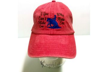 Embroidered Cap Red Washed Denim ' If You Can't Slide 'Em Why Ride 'Em
