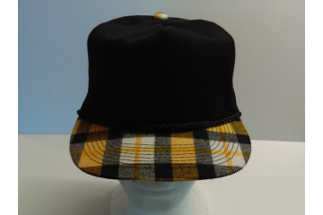 New Otto Cap Hat Black with Yellow Plaid Bill front view