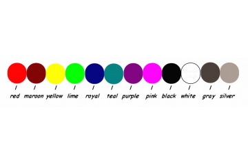 white, black, silver, dark gray, pink, yellow, lime green, gold, red