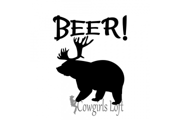 Bear decal with antlers = BEER