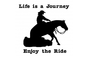Life is a Journey Enjoy The Ride Lady Reining Horse Decal Vinyl Trailer Mirror Window Truck Car Vehicle