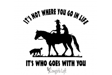 Cowgirl Riding Horse with Dogs Decal Saying Vehicle truck trailer Mirror Window Vinyl Trail Rider