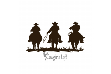 THREE COWBOYS Western Horses Decal