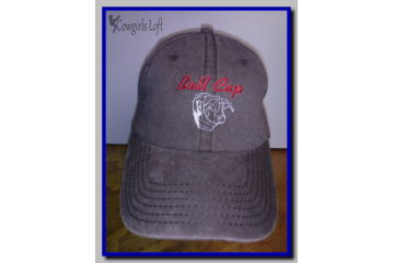 Embroidered Brown Cap BULL CAP w Bull Head Cotton Hat Baseball Farm Ranch Rodeo Cowboy Low Fitting Soft Crown Velcro Closure