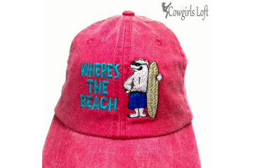 Embroidered Cap - Beach theme with Polar Bear