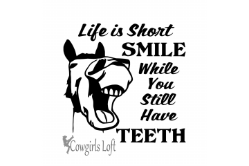 Life is Short Laughing Funny Horse Saying Decal Vinyl