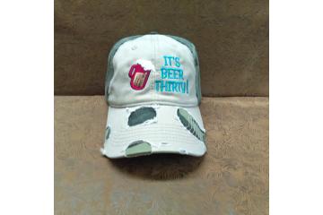 Distressed Embroidered Baseball Cap - Beer Thirty