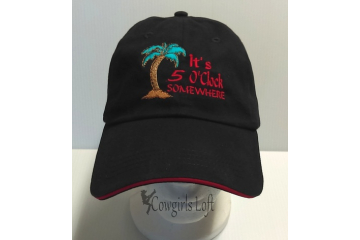 Black Embroidered Cap - 5 O'clock Somewhere