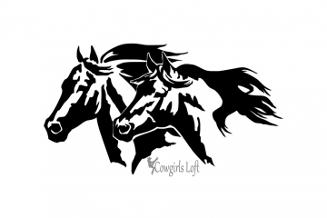Large Horse Heads Decal 18in. X 10in.