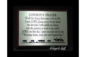 Cowboy's Prayer Poem Plaque Wall Decor